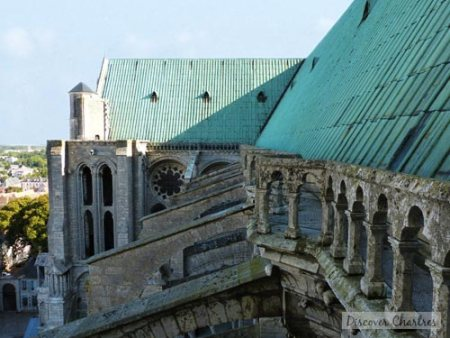The roof and flying buttresses