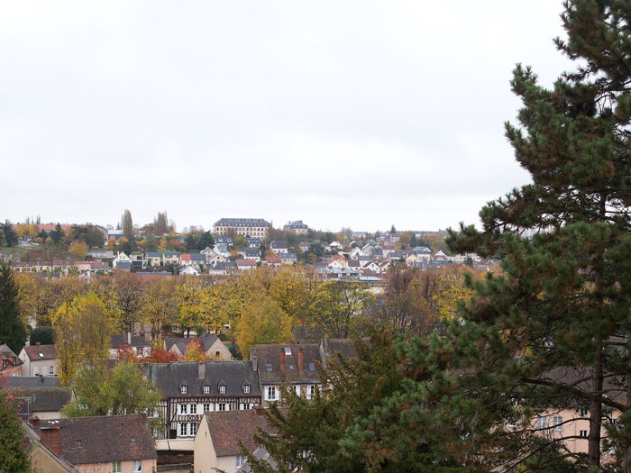 Old city in autumn - view from Bishop Palace Garden, Chartres