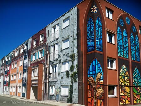 Stained glass windows on Bel Air fresco