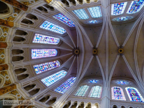 The triforium, the windows and the vaults of the choir of Chartres cathedral