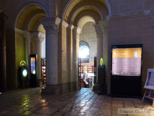 The souvenir store beneath the north tower of Chartres cathedral