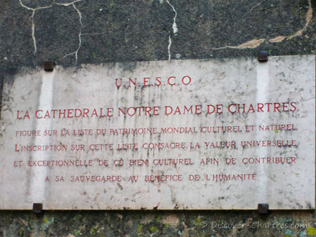 UNESCO plaque of Chartres cathedra