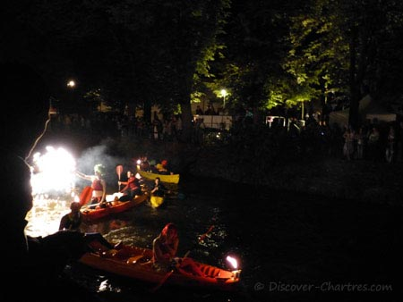 Canoes with torches