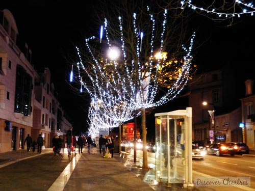The garland lights on Christmas in Chartres