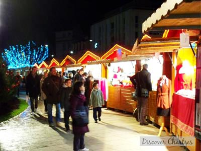 Christmas Market at night in Chartres