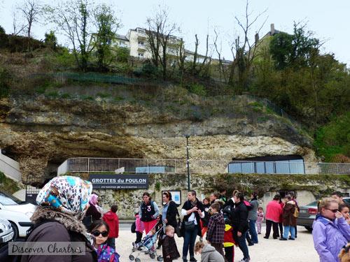 The parking are of Les Grottes du Foulon