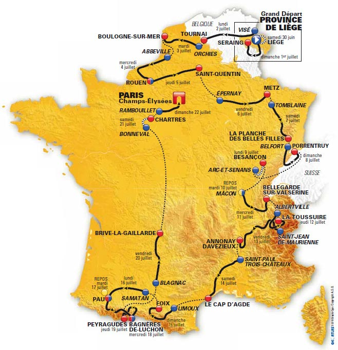 Tour de France 2015 Stage 5 Route