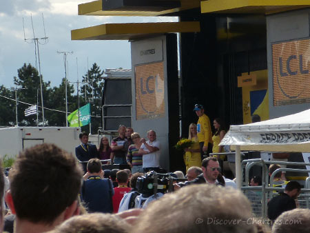 Bradley Wiggins on podium