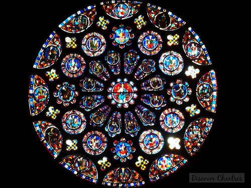 The rose window on the south side of the transept