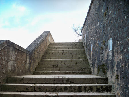 The stairs in Chartres cathederal garden
