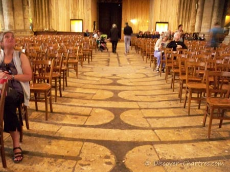The  labyrinth covered with chairs