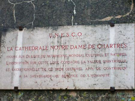 UNESCO plaque of Chartres cathedra
