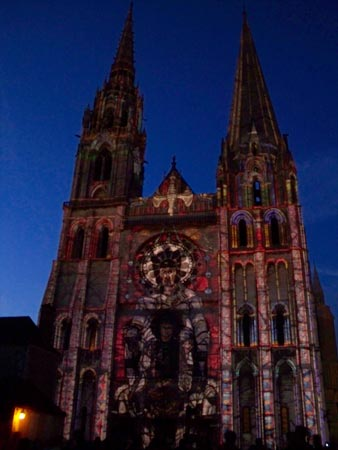 Chartres en Lumière on the facade of the cathedral