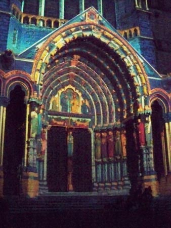 The light show on Chartres cathedral north portal